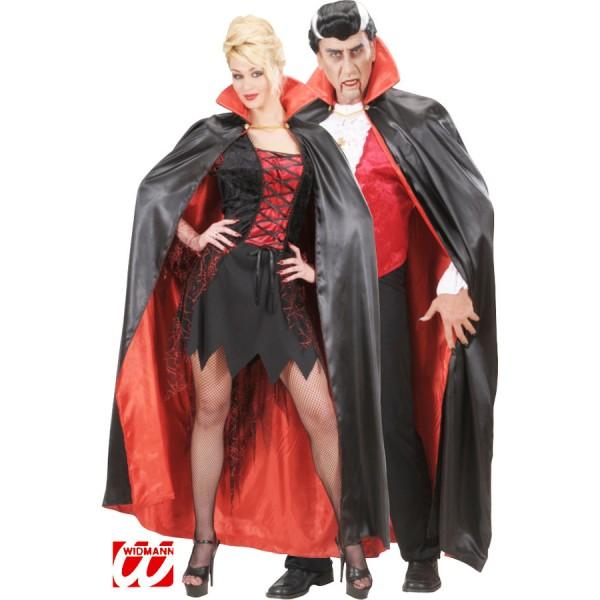 deguisement halloween cape noire col rouge en satin 136cm. Black Bedroom Furniture Sets. Home Design Ideas